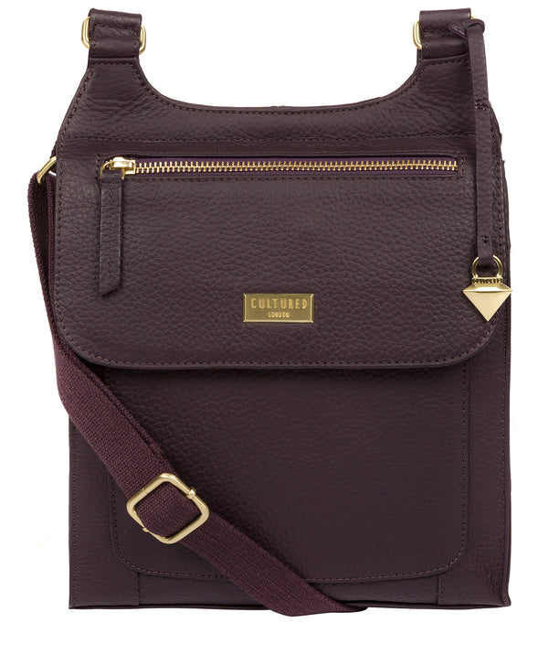 'Marie' Fig Leather Cross Body Bag image 1