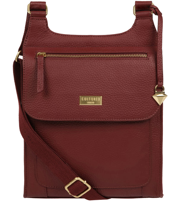 'Marie' Ruby Red Leather Cross Body Bag image 1