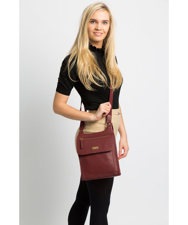 'Marie' Ruby Red Leather Cross Body Bag image 2