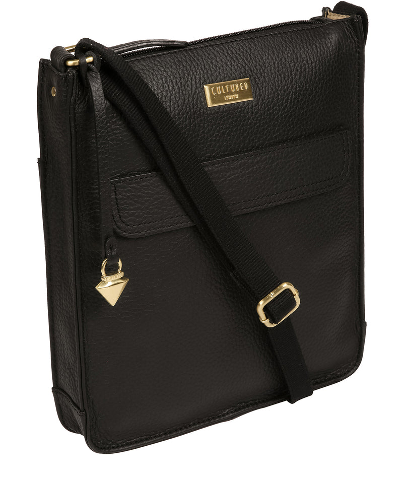 'Beth' Black Leather Cross Body Bag image 5