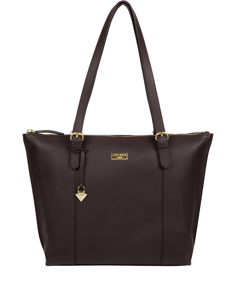 'Pippa' Dark Chocolate Leather Tote Bag image 1