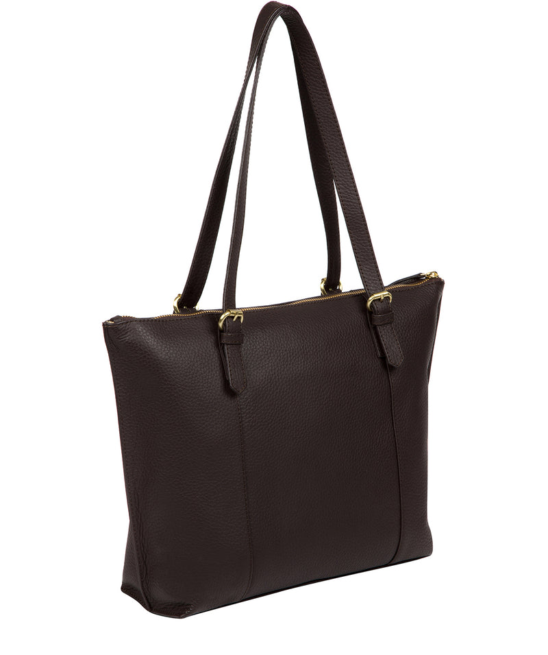 'Pippa' Dark Chocolate Leather Tote Bag image 3