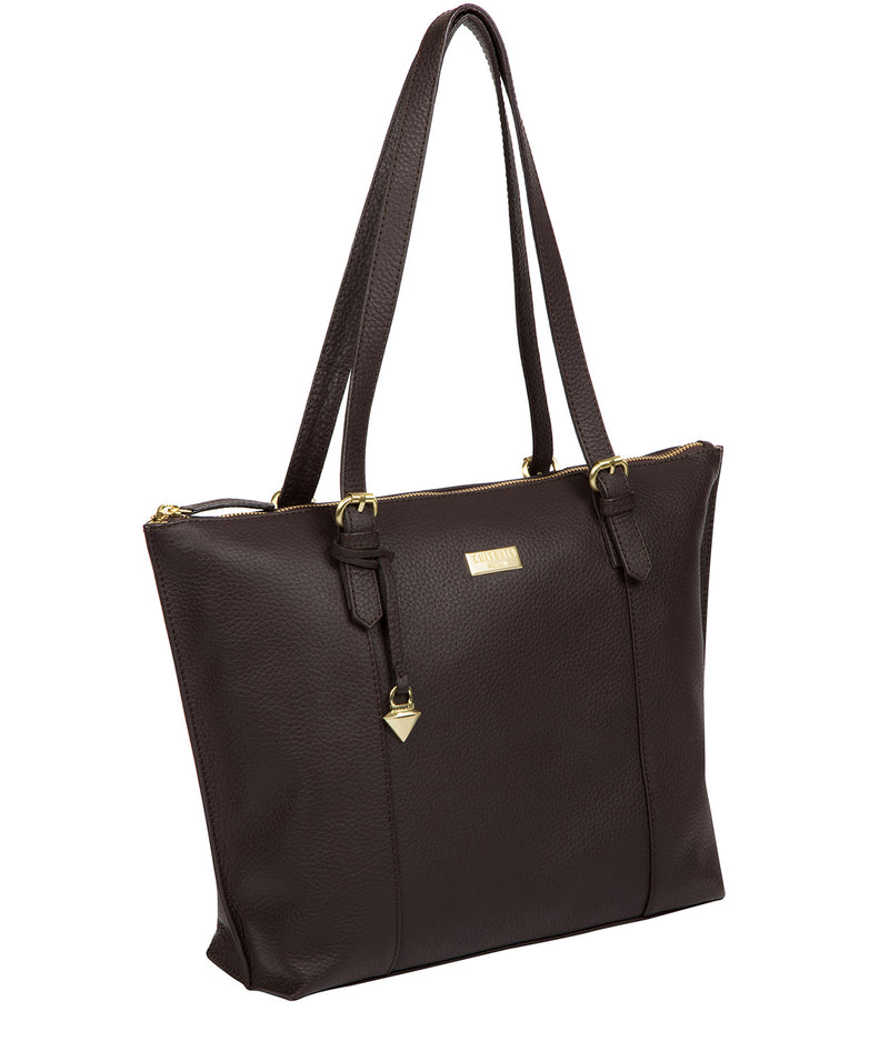 'Pippa' Dark Chocolate Leather Tote Bag image 6