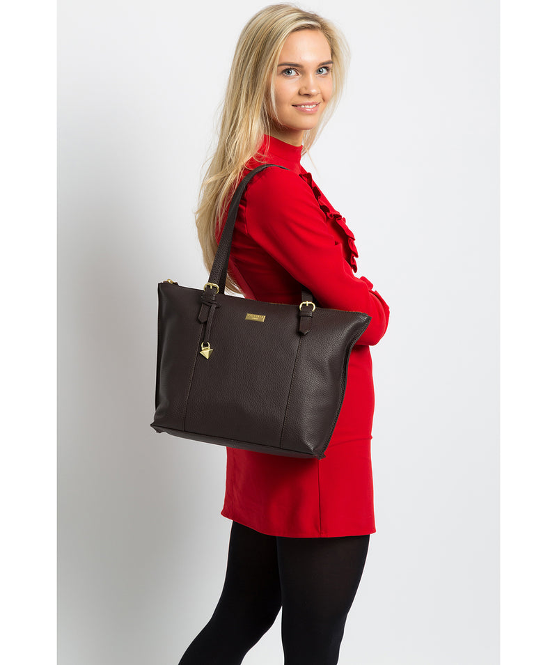 'Pippa' Dark Chocolate Leather Tote Bag image 2