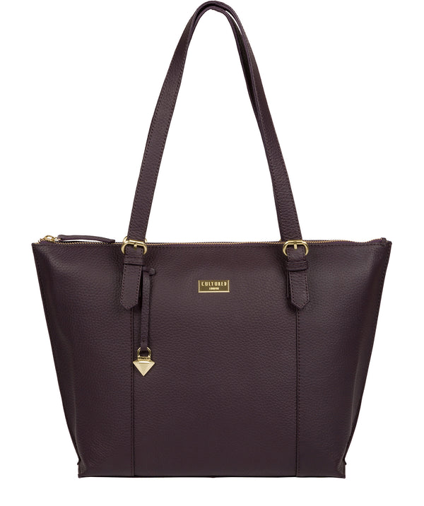 'Pippa' Fig Leather Tote Bag image 1