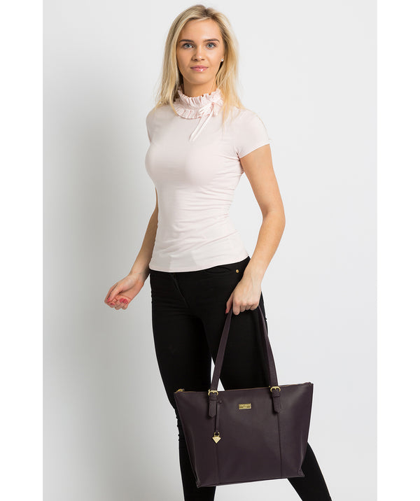 'Pippa' Fig Leather Tote Bag image 2
