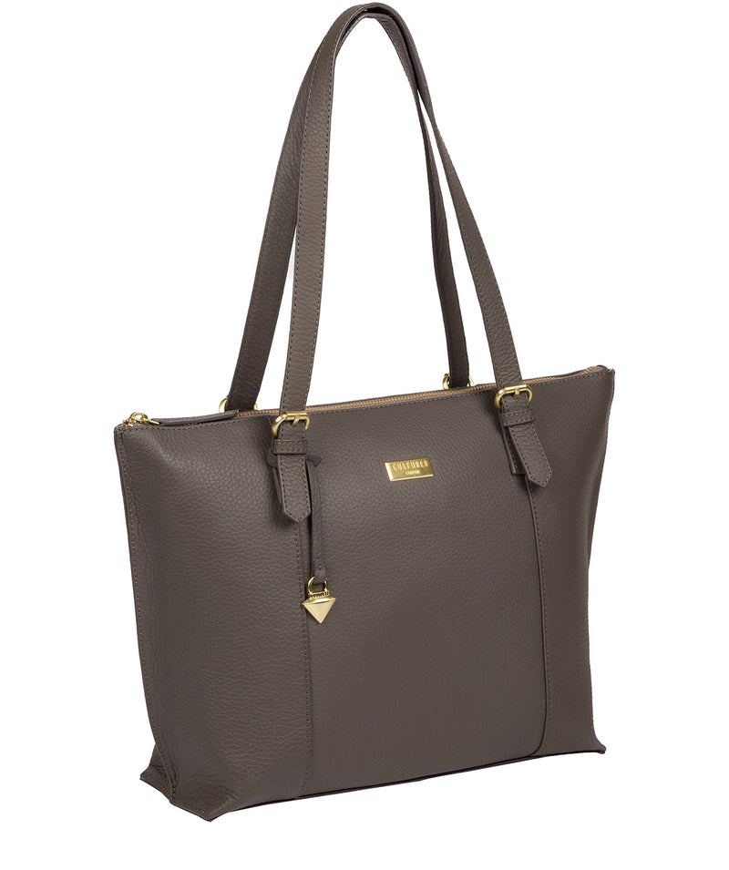 'Pippa' Grey Leather Tote Bag image 3