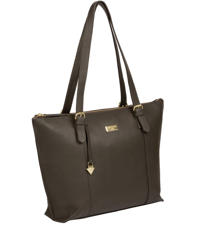'Pippa' Olive Leather Tote Bag image 3