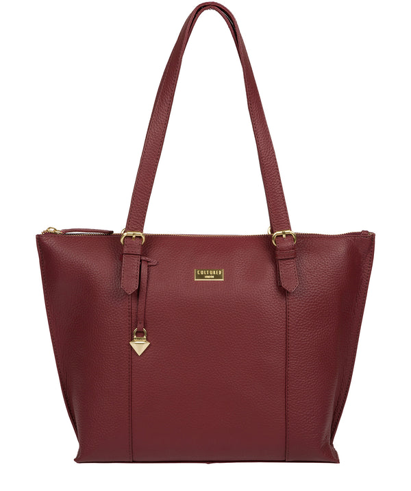 'Pippa' Ruby Red Leather Tote Bag image 1