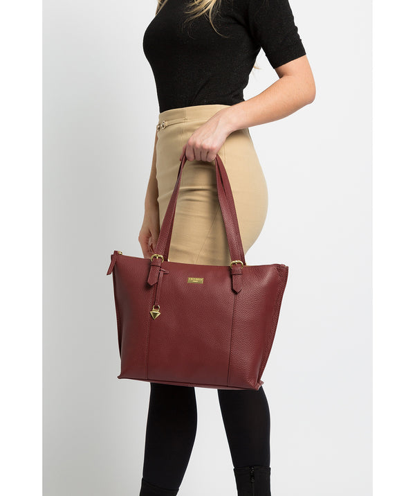 'Pippa' Ruby Red Leather Tote Bag image 2