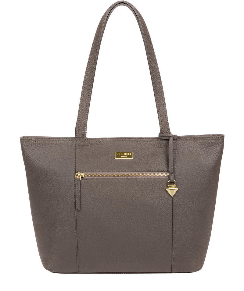 'Dawn' Grey Leather Tote Bag image 1