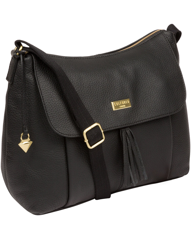 Henriette' Black Leather Shoulder Bag image 6