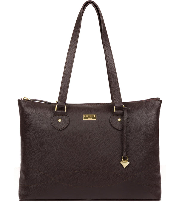 'Idelle' Dark Chocolate Leather Tote Bag image 1