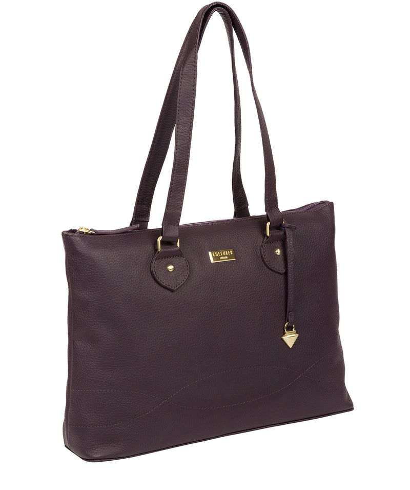 'Idelle' Fig Leather Tote Bag image 6