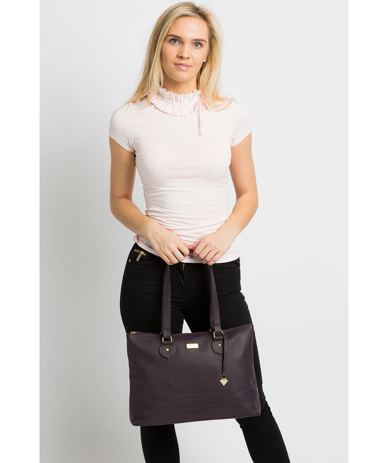 'Idelle' Fig Leather Tote Bag image 2