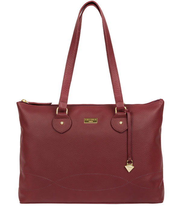 'Idelle' Ruby Red Leather Tote Bag image 1