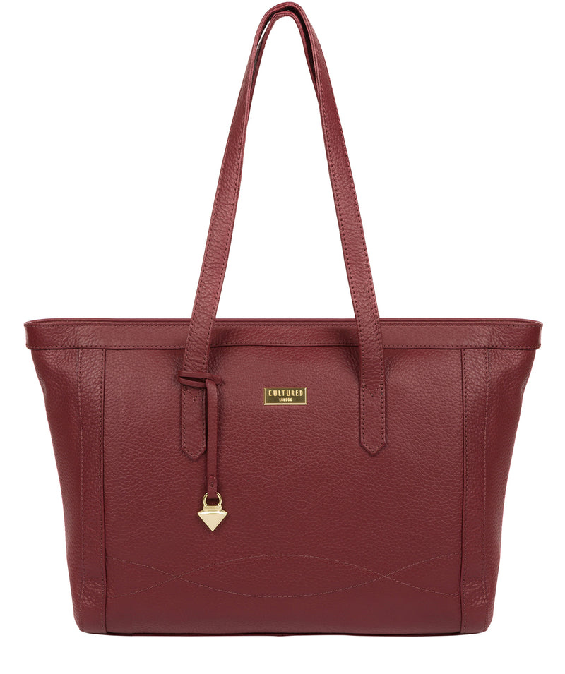 'Farah' Ruby Red Leather Tote Bag image 1