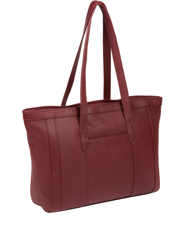 'Farah' Ruby Red Leather Tote Bag image 3