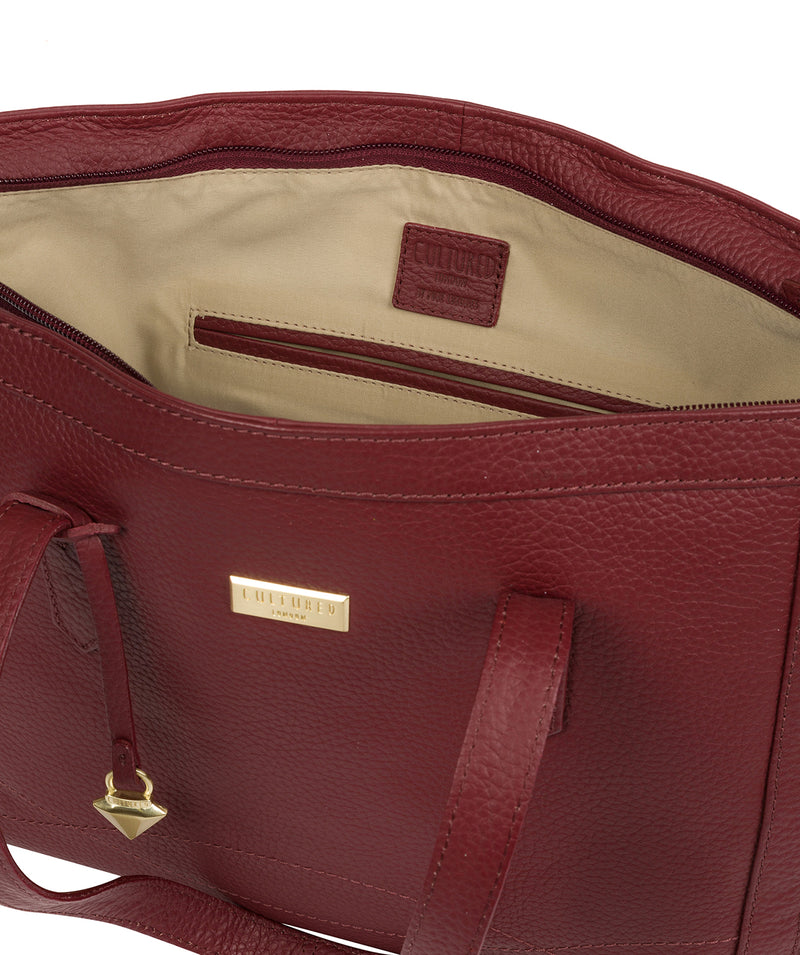 'Farah' Ruby Red Leather Tote Bag image 4
