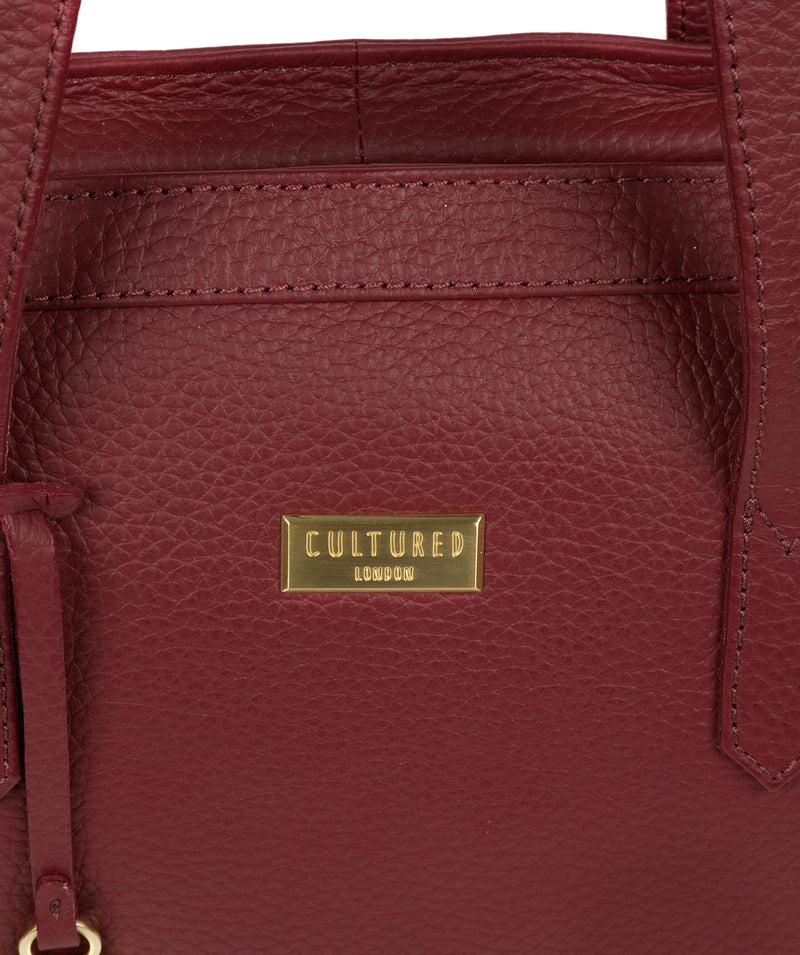 'Farah' Ruby Red Leather Tote Bag image 5