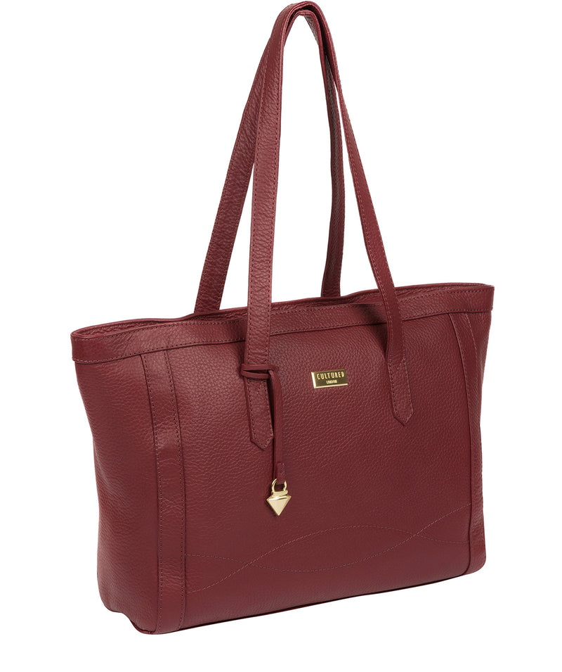 'Farah' Ruby Red Leather Tote Bag image 6
