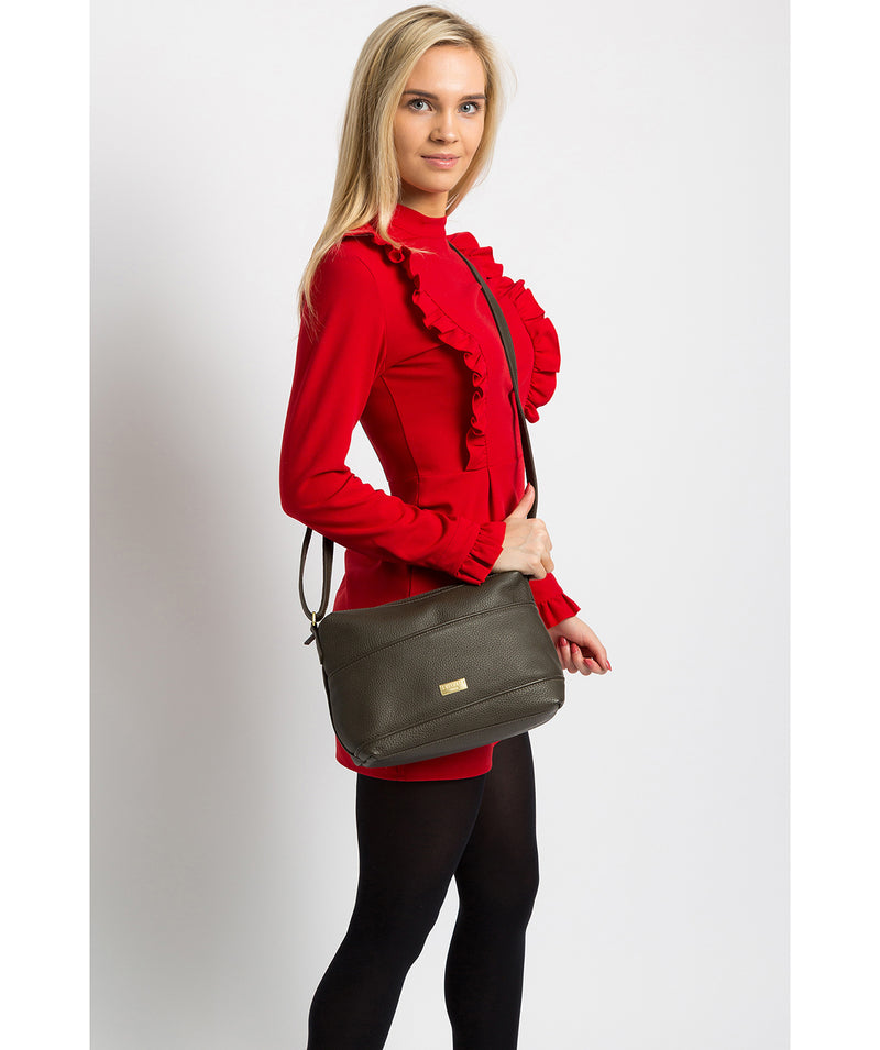 'Duana' Olive Leather Shoulder Bag image 2