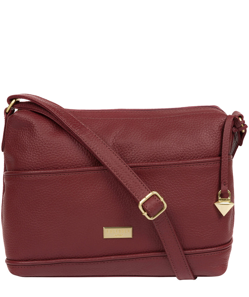 'Duana' Ruby Red Leather Shoulder Bag image 1