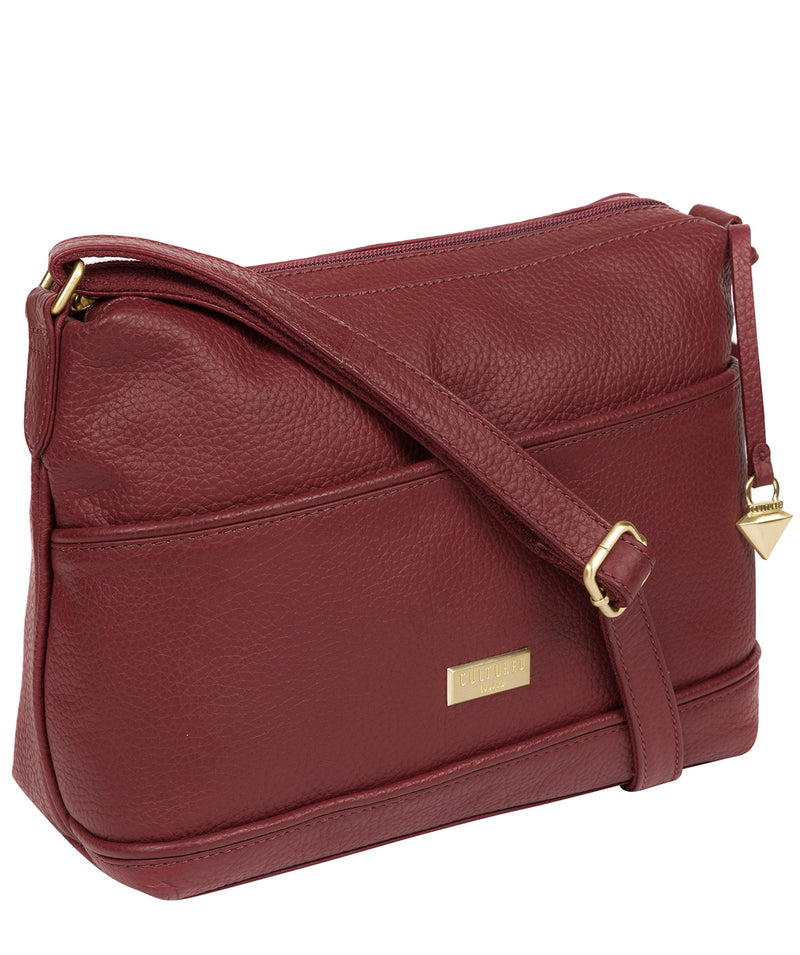 'Duana' Ruby Red Leather Shoulder Bag image 6
