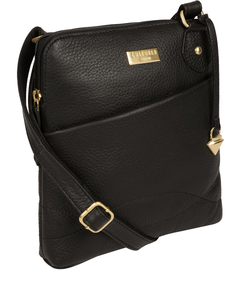 'Jarah' Black Leather Cross Body Bag image 5