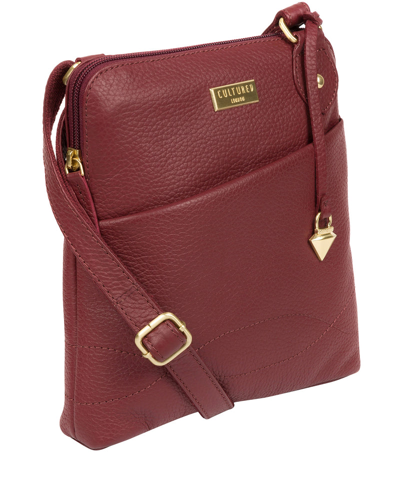 'Jarah' Ruby Red Leather Cross Body Bag image 6