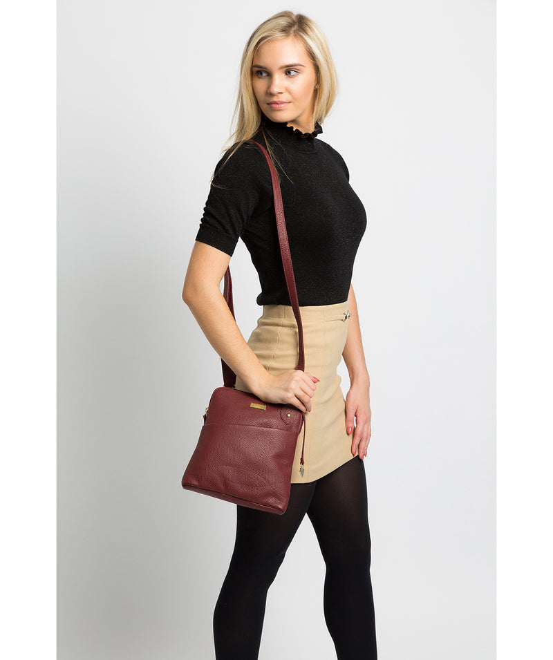 'Jarah' Ruby Red Leather Cross Body Bag image 2