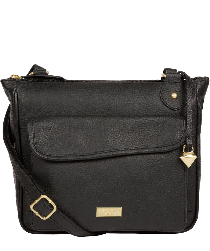 'Aria' Black Leather Cross Body Bag image 1