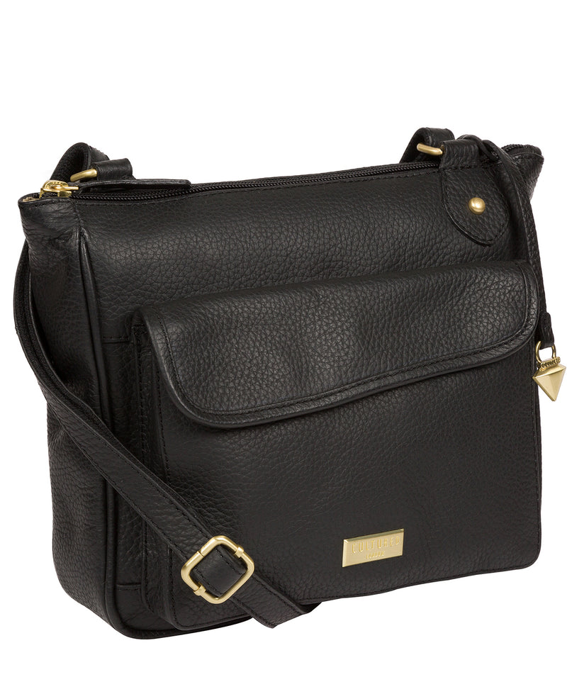 'Aria' Black Leather Cross Body Bag image 5