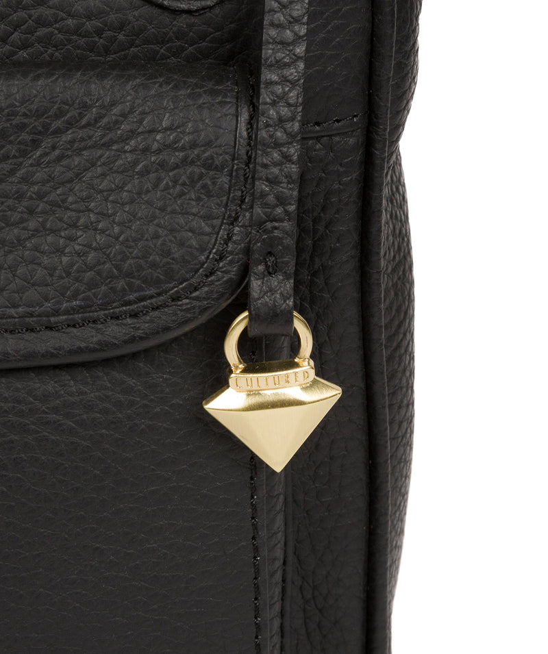 'Aria' Black Leather Cross Body Bag image 6