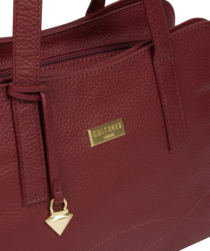 'Liana' Ruby Red Leather Handbag image 7