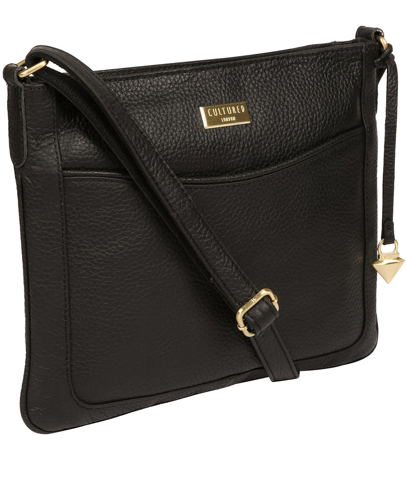 'Mireya' Black Leather Cross Body Bag Pure Luxuries London