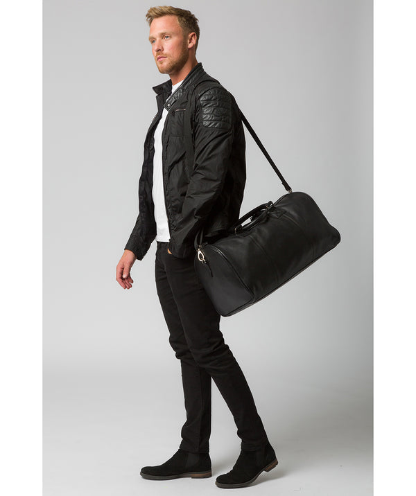 'Club' Black Leather Holdall image 2