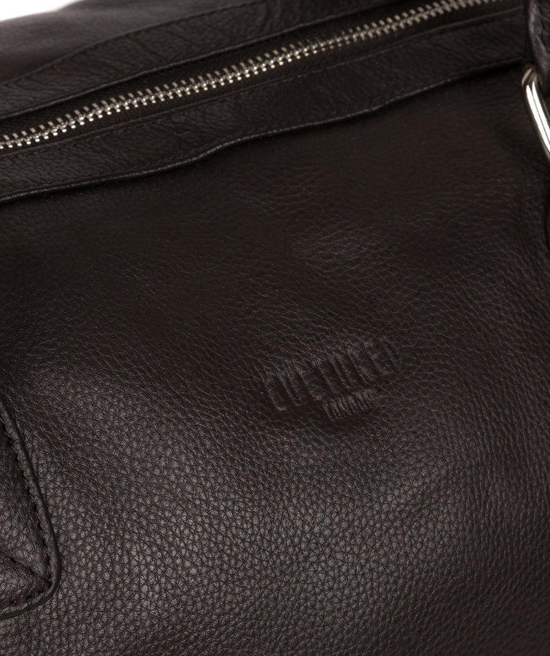 'Club' Dark Brown Leather Holdall image 6