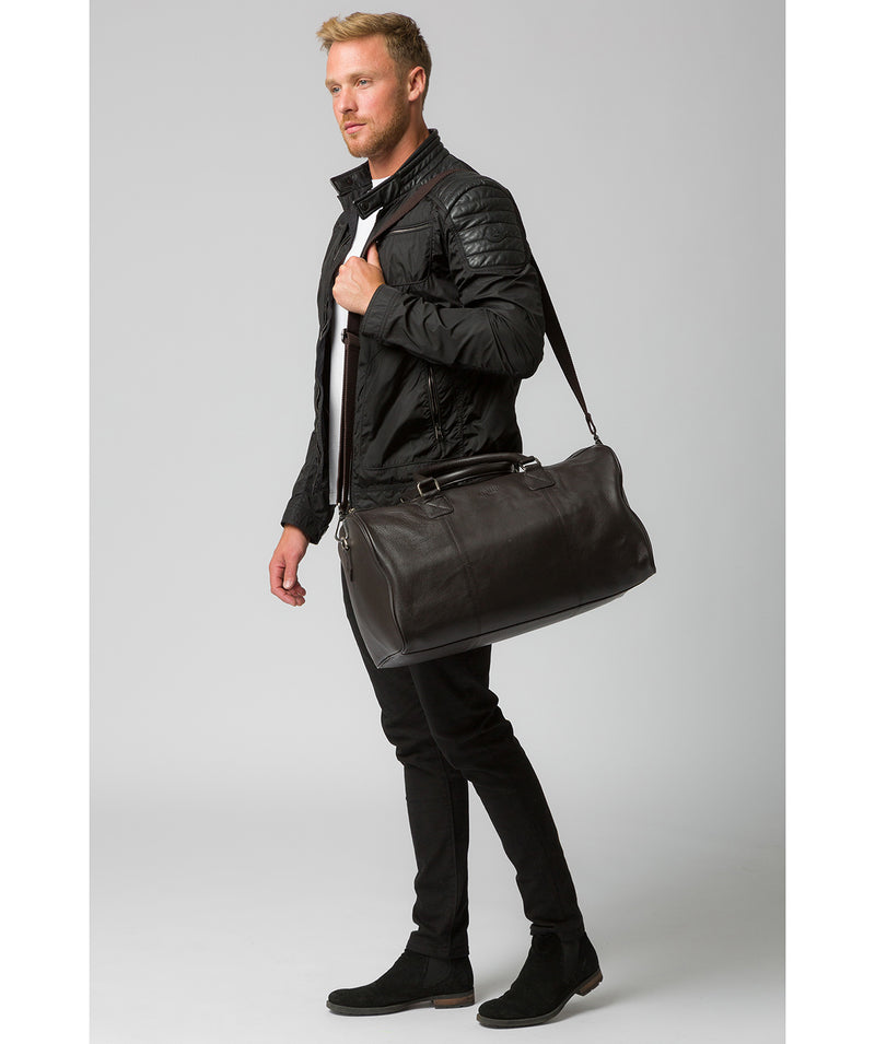 'Club' Dark Brown Leather Holdall image 2