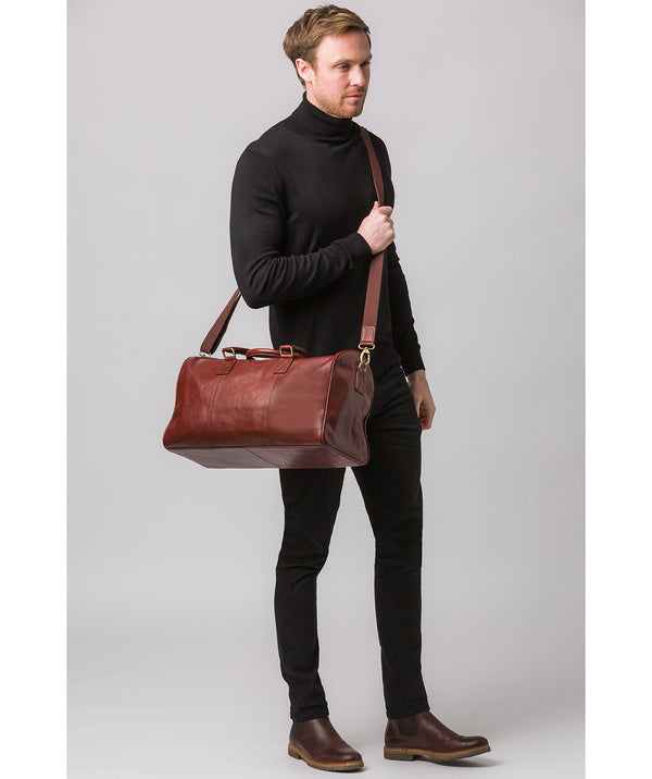 'Club' Dark Chestnut Leather Holdall