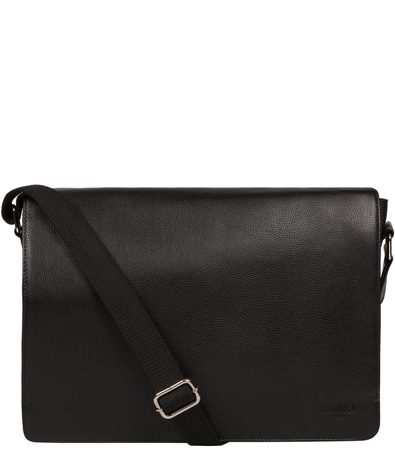 'Daniel' Black Leather Messenger Bag Pure Luxuries London