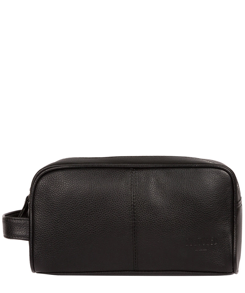 'Spader' Black Leather Washbag image 1