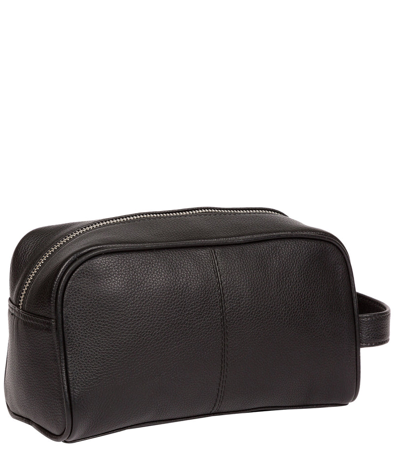 'Spader' Black Leather Washbag image 3