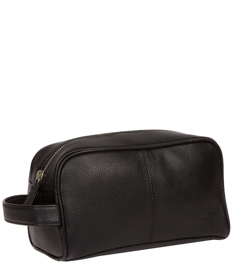 'Spader' Black Leather Washbag image 5