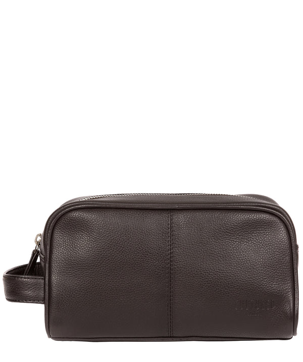 'Spader' Dark Brown Leather Washbag image 1