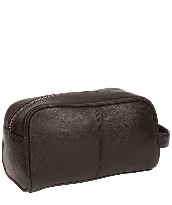 'Spader' Dark Brown Leather Washbag image 3