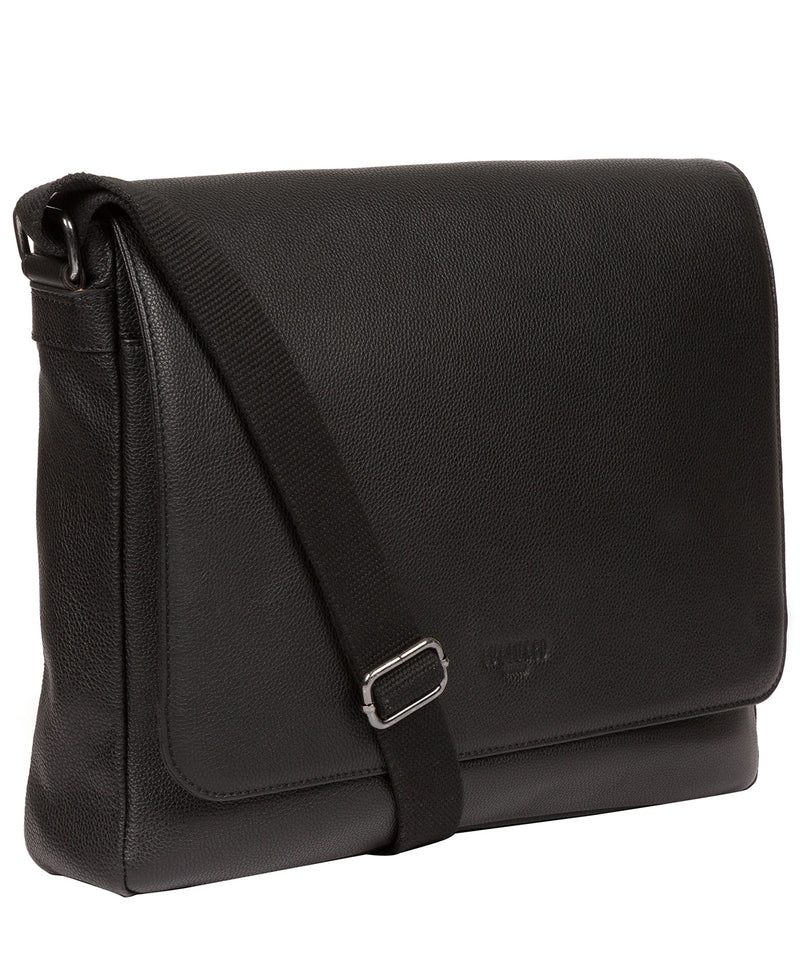 'Rory' Black Leather Messenger Bag image 5