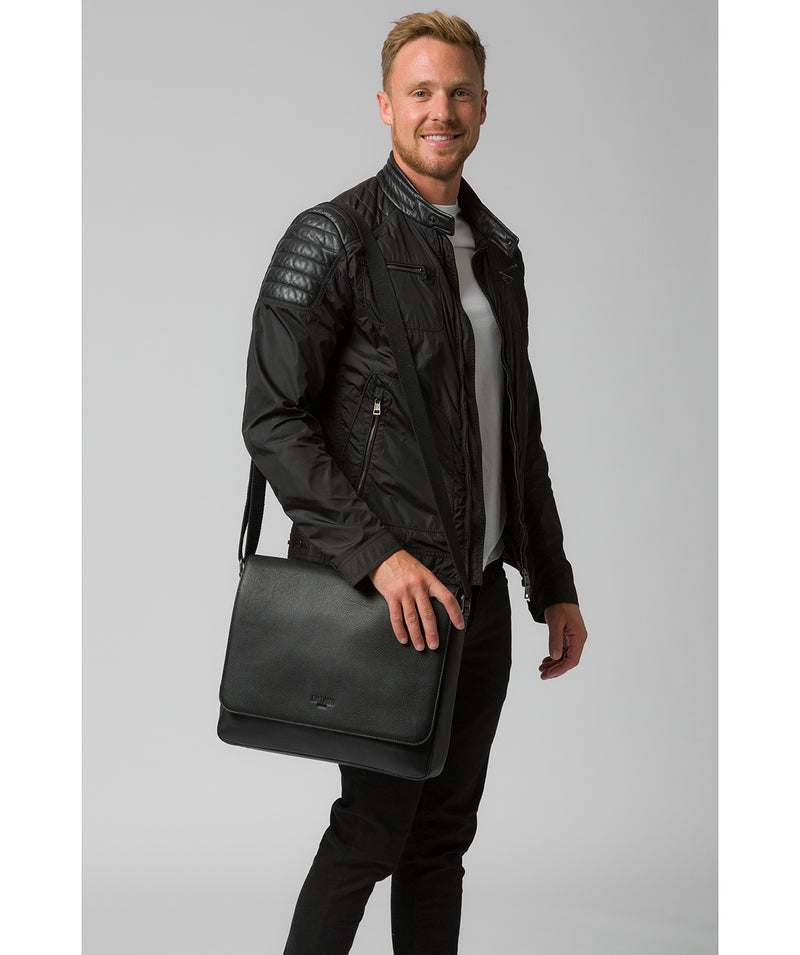 'Rory' Black Leather Messenger Bag image 2