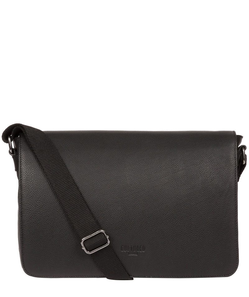 'Marv' Black Leather Messenger Bag image 1