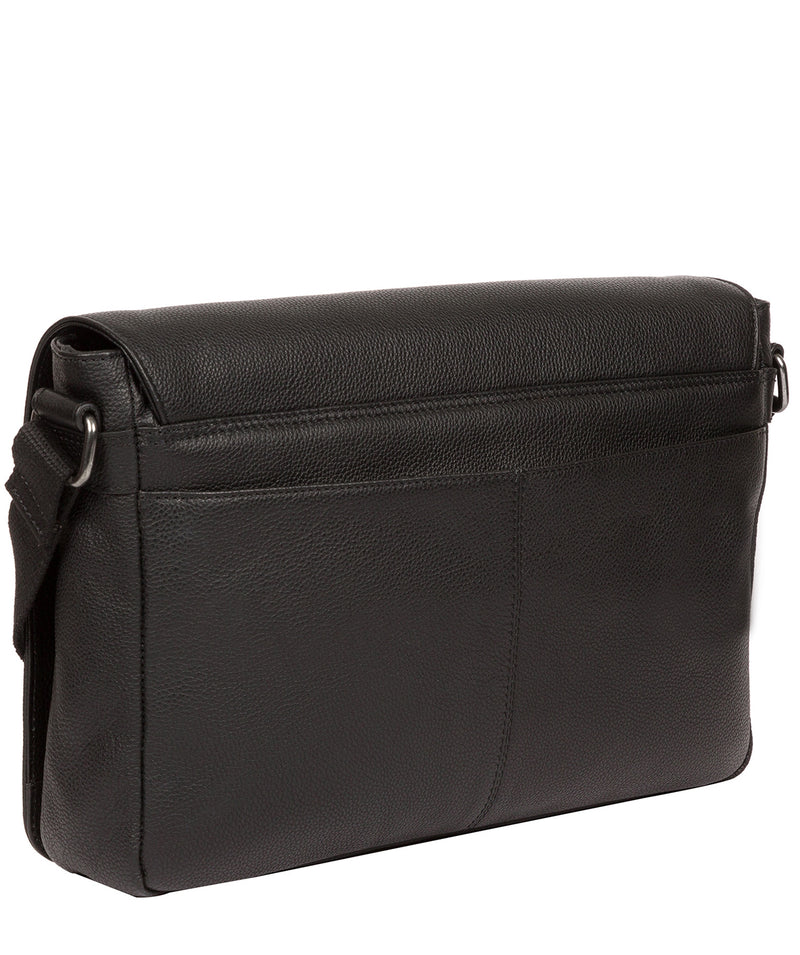 'Marv' Black Leather Messenger Bag image 3